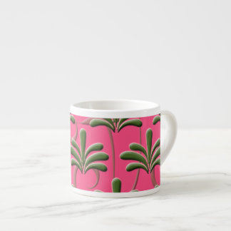 Pink and Green Abstract Leaf Pattern Espresso Cup