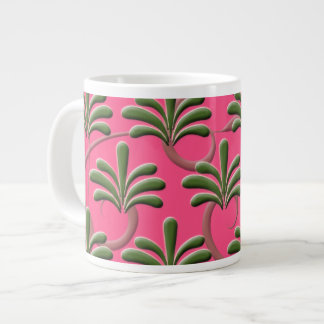 Pink and Green Abstract Leaf Pattern Large Coffee Mug