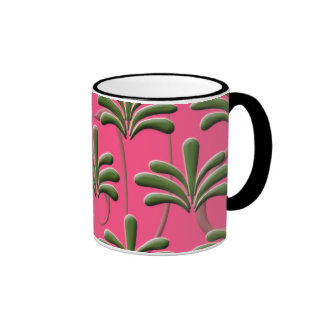 Pink and Green Abstract Leaf Pattern Ringer Mug