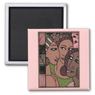 Pink and Green African American Women 2 Inch Square Magnet