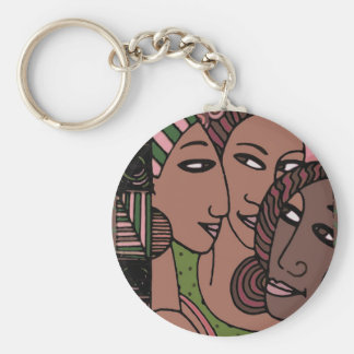 Pink and Green African American Women Keychain
