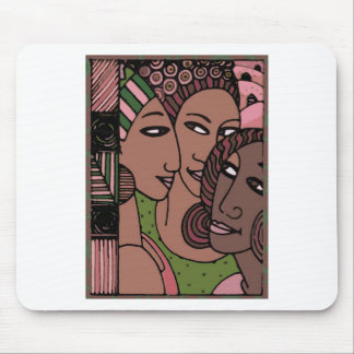 Pink and Green African American Women Mouse Pad