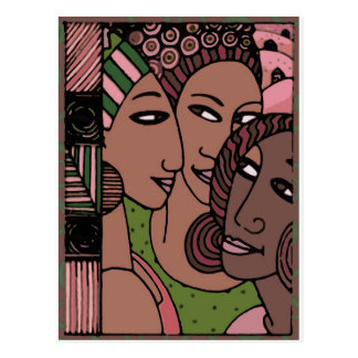 Pink and Green African American Women Postcard