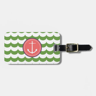 Pink and Green Anchor with Waves Pattern Tags For Luggage