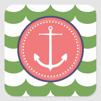 Pink and Green Anchor with Waves Pattern Square Sticker