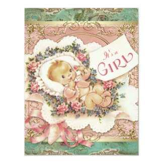 Pink and Green and Gold Vintage Girl Baby Shower Card
