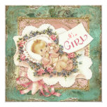 Pink and Green and Gold Vintage Girl Baby Shower Custom Invites