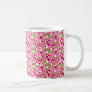 Pink and Green and White Squares Coffee Mug
