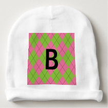 Pink and Green Argyle Baby Beanie