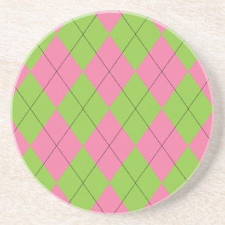 Pink and Green Argyle Coaster