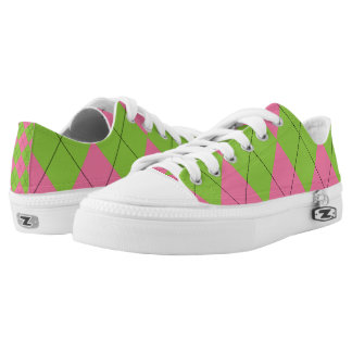 Pink and Green Argyle Low-Top Sneakers