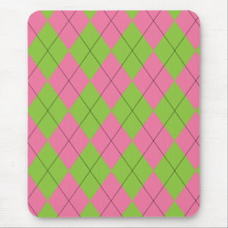Pink and Green Argyle Mouse pad