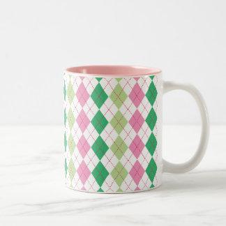 Pink and Green Argyle Mug