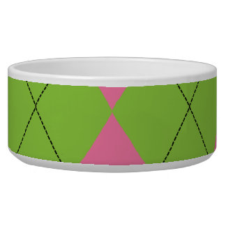 Pink and Green Argyle Pet Bowl