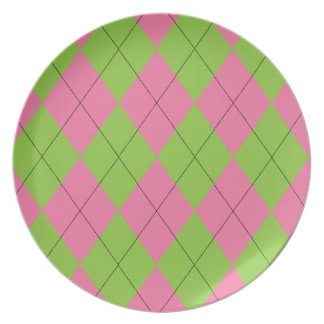 Pink and Green Argyle Plate
