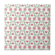 Pink and Green Art Deco Inspired Floral Pattern Tile