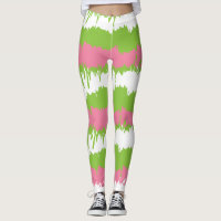 Pink and Green Artistic Workout Gear Leggings