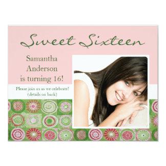 Pink and Green Artsy Sweet Sixteen Invitation