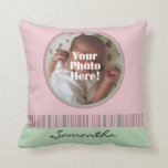 Pink and Green Baby Girl Custom Photo/Name Pillow