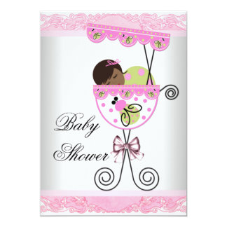 Pink and Green Baby Girl Shower Card