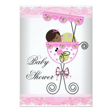 Toddler & Baby themed Pink and Green Baby Girl Shower Card