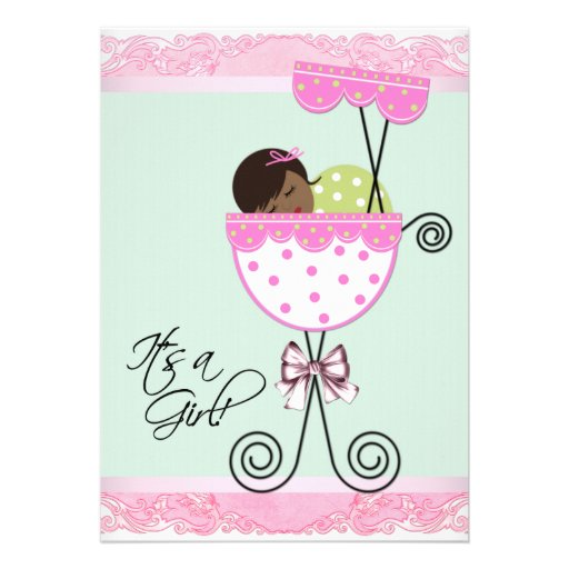 pink and green baby shower cards zazzle
