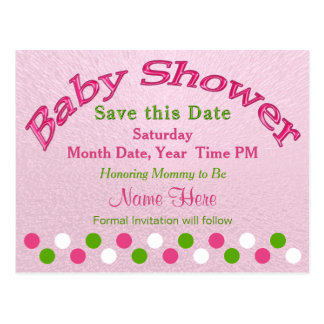 Pink and Green Baby Shower Save the Date Cards
