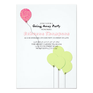 Pink and Green Balloons Going Away Party Card