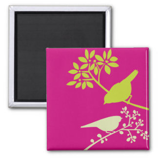 Pink and Green Birds 2 Inch Square Magnet