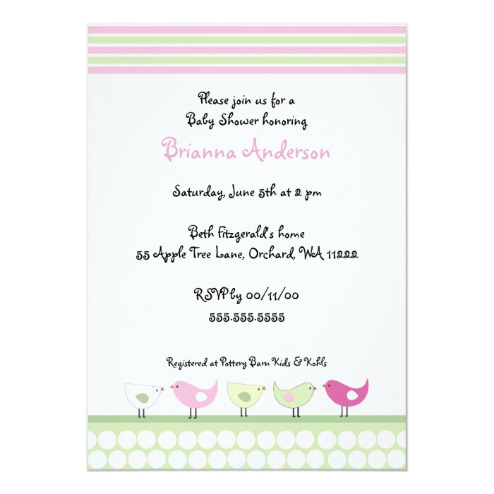pink and green birds baby shower invitation zazzle