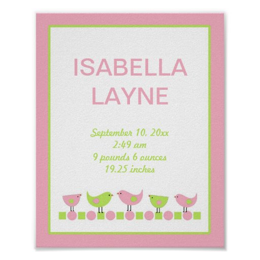 Pink And Green Wall Decor For Nursery : Pink and green birds girl nursery wall art zazzle