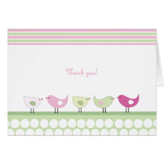 Pink and Green Birds Thank You Note Cards