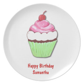 Pink and Green Birthday Cupcake Plate
