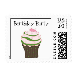 Pink and Green Birthday Cupcake Postage