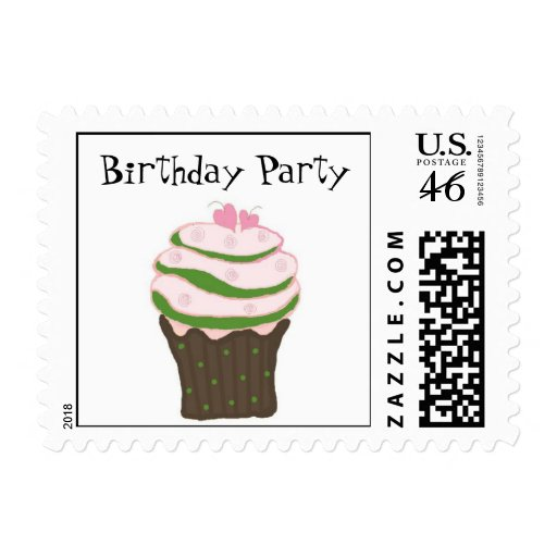 Pink and Green Birthday Cupcake Stamps