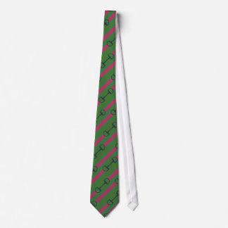 Pink and Green Bit Ribbon Pattern Tie