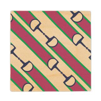 Pink and Green Bit Ribbon Pattern Wooden Coaster