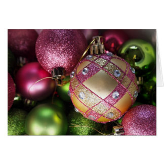 Pink and Green Bling Ornament Blank Christmas Card