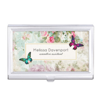 Pink And Green Erflies On Shabby Vintage Roses Business Card Holder