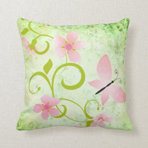 Pink and Green Butterfly Floral Throw Pillows Zazzle