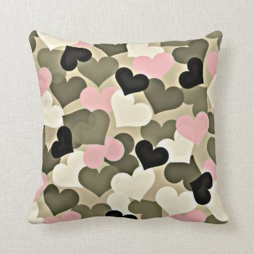 Pink and Green Camo Heart Throw Pillow