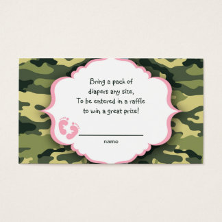 Pink and Green Camo raffle tickets or insert cards