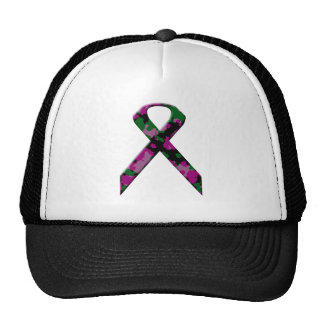 Pink and green camouflage breast cancer awareness mesh hats