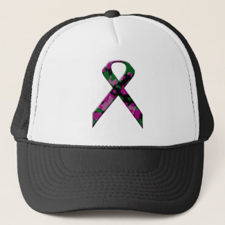 Pink and green camouflage breast cancer awareness trucker hat