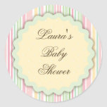Pink and Green Candy Striped Gift Label Round Stickers