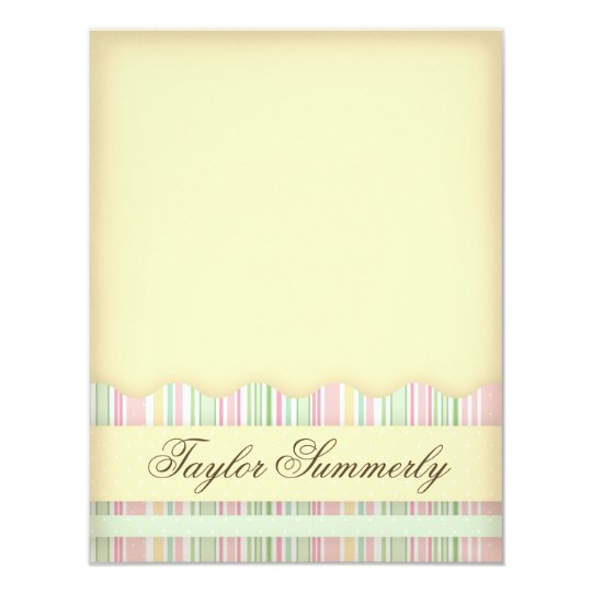 Pink and Green Candy Striped Note Card