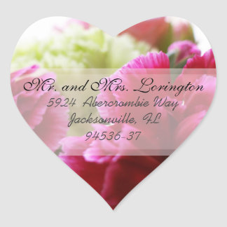 Pink and Green Carnations return address b Heart Sticker