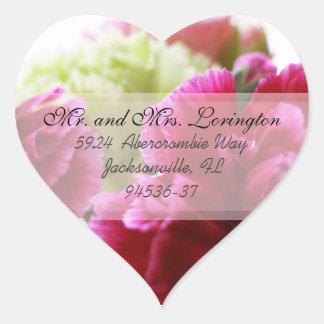 Pink and Green Carnations return address c Heart Sticker
