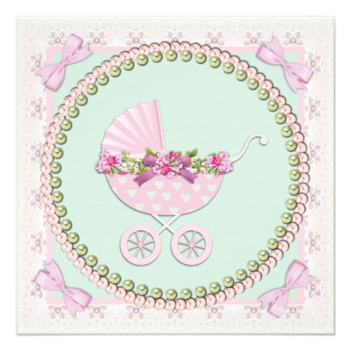 pink and green carriage baby shower square invitation card