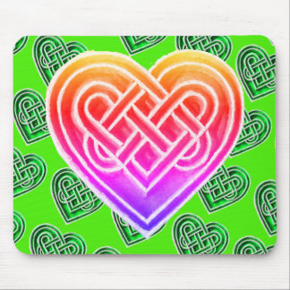 Pink and Green Celtic Hearts Irish Mousepad